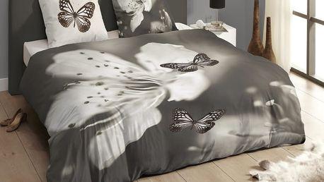 Luxusní saténové povlečení DESCANSO 9269 Rythm 3D motýl