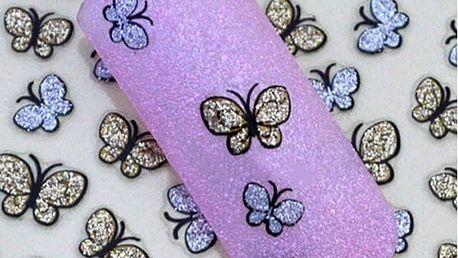 Třpytiví motýlci - nálepky na nehty