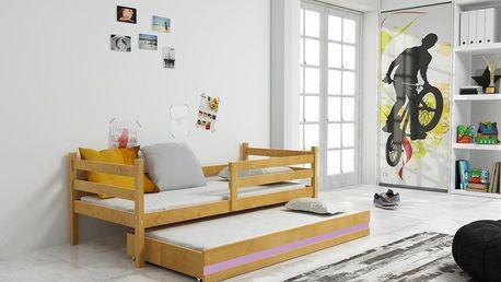 Dětská postel s přistýlkou ERYK 2 80x190 cm, olše/fialová