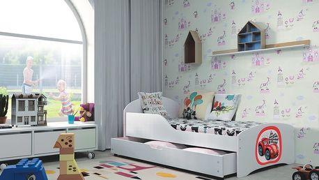 Dětská postel ROBI 80x140 cm, bílá/bílá Pěnová matrace Hasiči