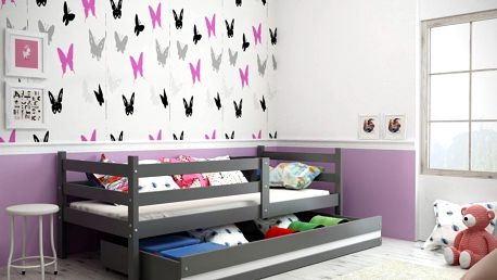 Dětská postel ERYK 1 90x200 cm, grafitová/bílá Kokosová matrace