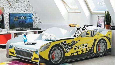 Dětská postel auto CARS 80x160 cm, žlutá Pěnová matrace