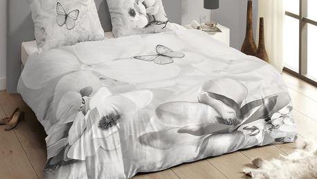 Luxusní saténové povlečení DESCANSO 9255 Xandrine 3D šedé květy