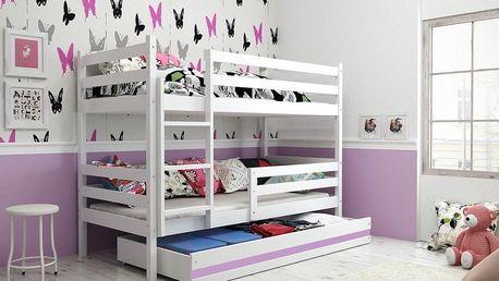Patrová postel ERYK 80x190 cm, bílá/fialová