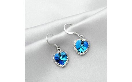 Elegantní náušnice ve tvaru srdce s kamenem - modrá - dodání do 2 dnů
