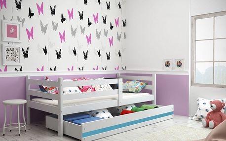 Dětská postel ERYK 1 90x200 cm, bílá/modrá Pěnová matrace