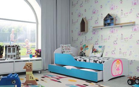 Dětská postel ROBI 80x160 cm, bílá/modrá Pěnová matrace Auto 1