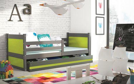 Dětská postel RICO 1 90x200 cm, grafitová/zelená Bez samolepky Pěnová matrace