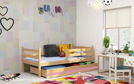 Dětská postel ERYK 1 90x200 cm, borovice/růžová Pěnová matrace
