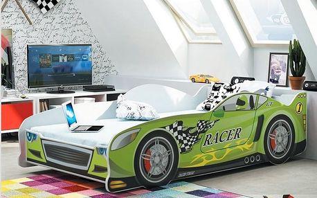Dětská postel auto CARS 80x160 cm, zelená Pěnová matrace