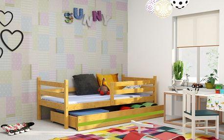 Dětská postel ERYK 1 90x200 cm, olše/zelená Pěnová matrace