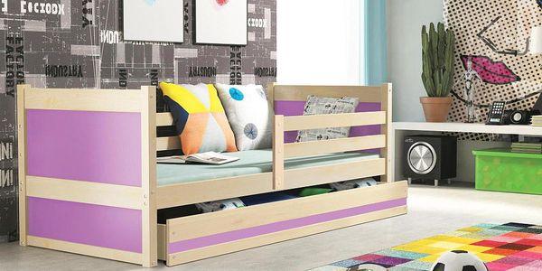 Dětská postel RICO 1 90x200 cm, borovice/fialová Pěnová matrace Džungle