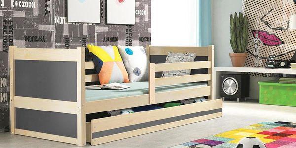 Dětská postel RICO 1 90x200 cm, borovice/grafitová Latexová matrace Princezna