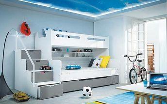 Patrová postel MAX 3 80x200 cm, bílá/grafitová