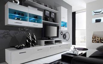 Obývací stěna LOGO II, bílá matná / bílý lesk