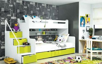 Patrová postel MAX 3 80x200 cm, bílá/zelená