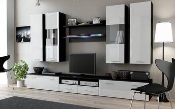 Obývací stěna DREAM II, černá matná / bílý lesk