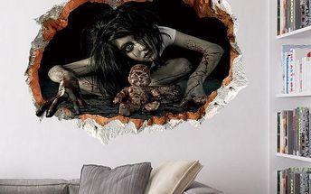 Halloweenská 3D samolepka na zeď se strašidelnými motivy