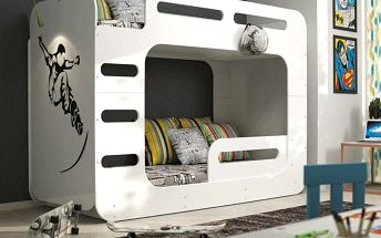 Patrová postel MAX 2 90x200 cm, bílá Latexová matrace