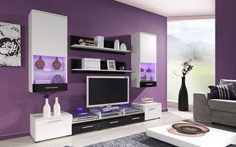 Obývací stěna CAMA II, bílá matná / bílý a černý lesk