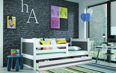 Dětská postel RICO 1 90x200 cm, bílá/grafitová Latexová matrace Pták