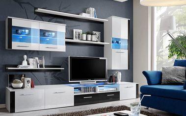 Obývací stěna LOGO FRESH, bílá matná/bílý a černý lesk