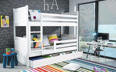 Patrová postel RICO 80x160 cm, bílá/bílá Latexová matrace Auto Medvěd