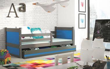 Dětská postel RICO 1 90x200 cm, grafitová/modrá Kokosová matrace Formule