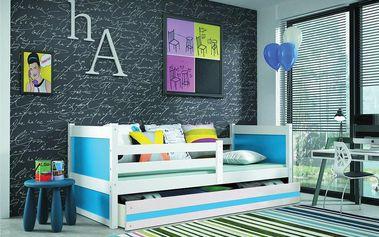 Dětská postel RICO 1 90x200 cm, bílá/modrá Pěnová matrace Hasiči