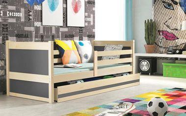 Dětská postel RICO 1 90x200 cm, borovice/grafitová Kokosová matrace Princezna