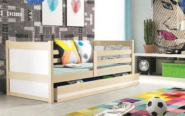 Dětská postel RICO 1 90x200 cm, borovice/bílá Latexová matrace Bez samolepky