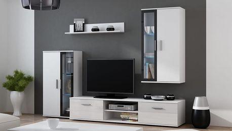 Obývací stěna DORA, bílá matná / černý lesk