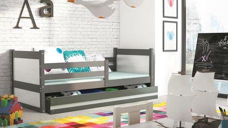 Dětská postel RICO 1 90x200 cm, grafitová/bílá Kokosová matrace Letadla