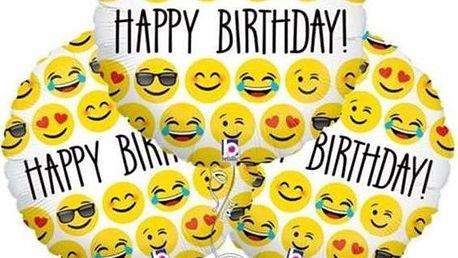 Smajlíkové balonky s nápisem Happy Birthday - 3 kusy