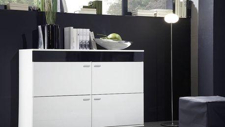 Komoda LOGO II, bílá matná / černý a bílý lesk