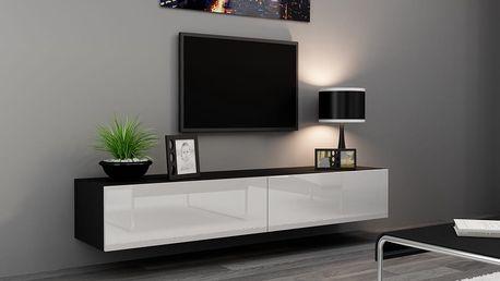 RTV stolek VIGO 180, černá matná / bílá lesk