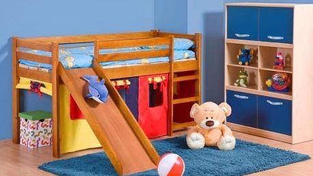 Dětská patrová postel se skluzavkou Neo Plus olše