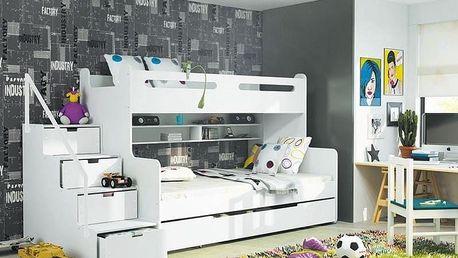 Patrová postel MAX 3 80x200 cm, bílá/bílá