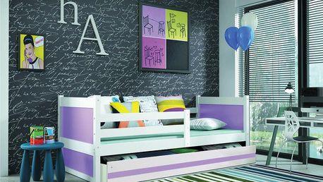 Dětská postel RICO 1 90x200 cm, bílá/fialová Formule Pěnová matrace