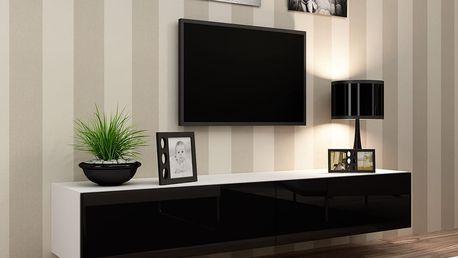 RTV stolek VIGO 180, bílá matná / černý lesk