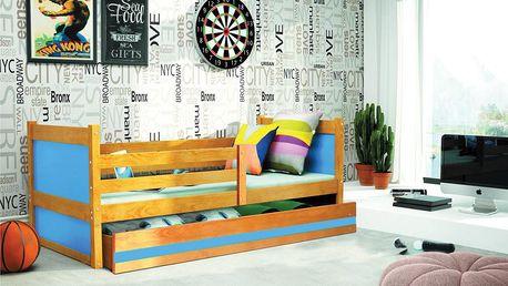 Dětská postel RICO 1 90x200 cm, olše/modrá Kokosová matrace Hasiči