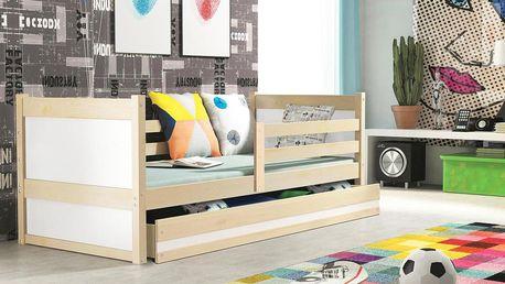 Dětská postel RICO 1 80x190 cm, borovice/bílá Kotě