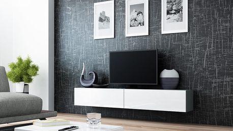 RTV stolek VIGO 180, šedá matná / bílý lesk