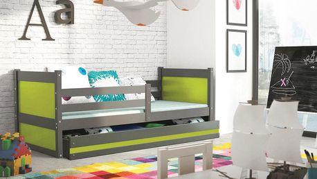 Dětská postel RICO 1 80x190 cm, grafitová/zelená Kotě