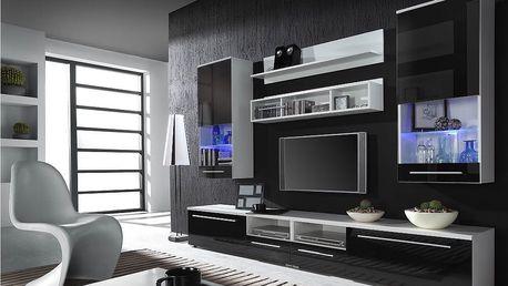 Obývací stěna LUNA, bílá matná / černý lesk