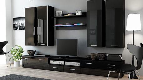 Cama Obývací stěna DREAM III, černá matná/černý lesk