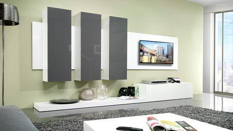 Cama Obývací stěna LIFE, bílá matná/šedý lesk