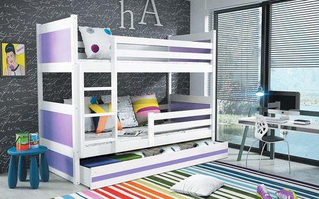 Patrová postel RICO 80x160 cm, bílá/fialová Kokosová matrace Víla Bez samolepky