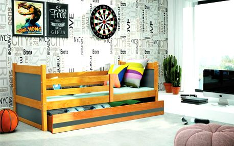 Dětská postel RICO 1 90x200 cm, olše/grafitová Medvěd Pěnová matrace