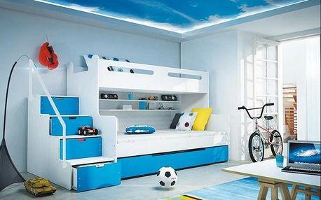 Patrová postel MAX 3 80x200 cm, bílá/modrá
